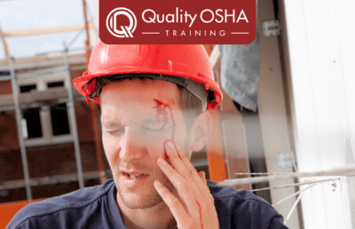 injured worker bleeding on forehead