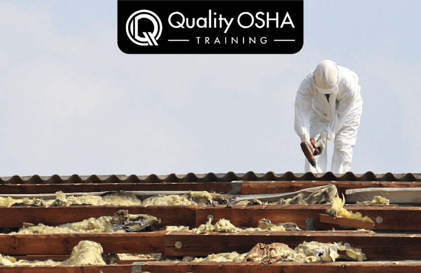 Worker on roof. asbestos remediation.