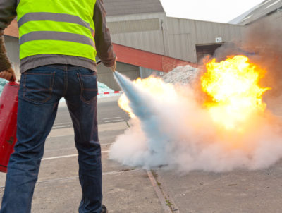portable fire extinguisher put out fire